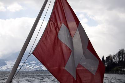 Swiss flag - Lake Lucerne