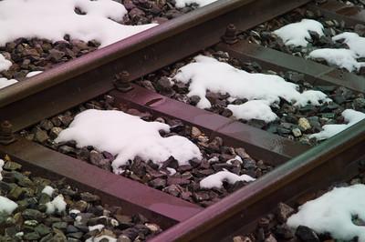 Snow on tracks - GoldenPass Line