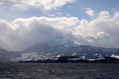 Clouds over mountaintop - Lake Lucerne