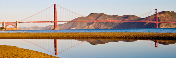 The Golden Gate Bridge, early morning from Crissy Field