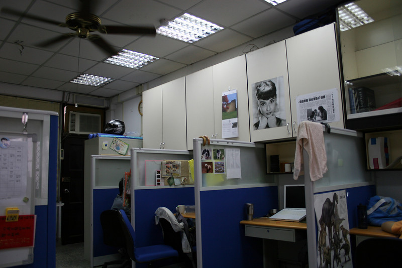 Some of the more involved students have their own cubes and computers set up.  The third from the left belongs to Emma, one of the students whom we couldn't have completed our work in Taiwan without.  Notice the Audrey Hepburn photo; never did find out why she has that exactly.  :)