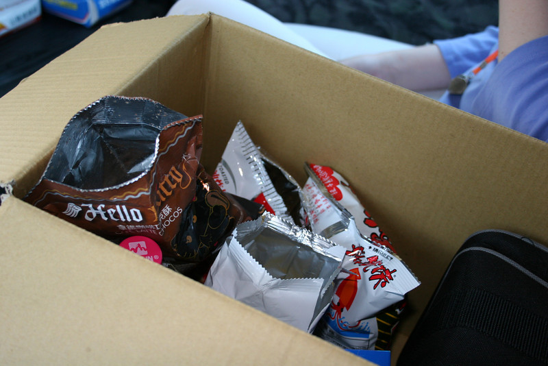 Our snack box, stocked with strange and unusual items just before leaving for the field site in Pingtung.