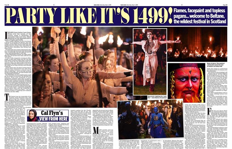 Picture by Lesley Martin<br /> 4 May 2019<br /> <br /> Beltane Fire Festival, Edinburgh. Scottish Daily Mail.