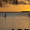 Paddle boarding at sunset in the Florida Keys.