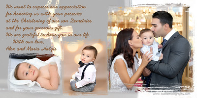Demetrios-Greek Baptism Thank You Card