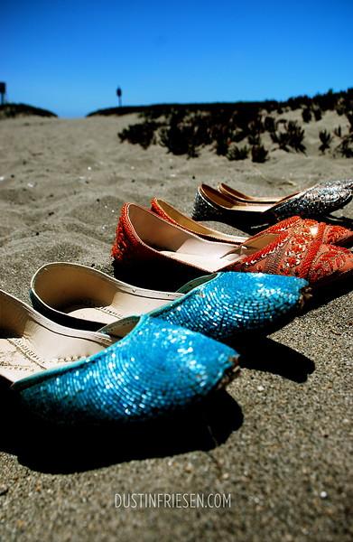 Wedding shoes;<br /> Bodega Bay, California