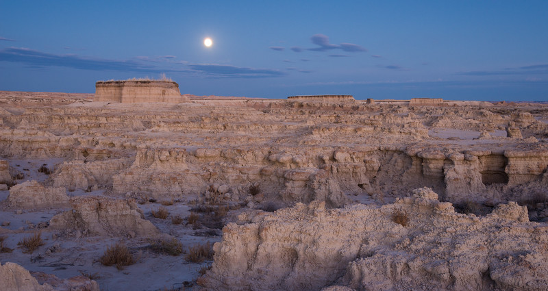Perigee full moon rising over the South Dakota Badlands