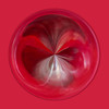 "2/2011:  The color red.  Orb is created from a soft-focus, zoomed closeup of red plastic spoons in a glass heart dish.  Outside edge of the orb was ""stroked"" with a darker color selected from within the orb."