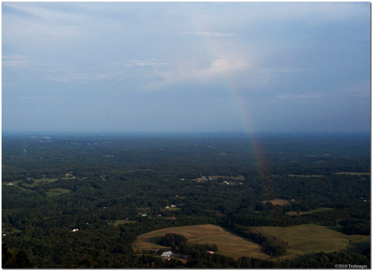 July 18<br /> Rainbow over the valley<br /> Pilot Mountain NC