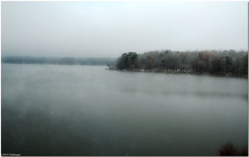 Dec 4<br /> Snowfalling over Jordan Lake