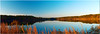 """Nov 13<br /> Mirrored lake<br /> <br /> A panoramic view of our largest lake, Jordan Lake. covering over 40,000 acres spanning across 3 counties! This is only a tiny section! Almost always there is movement of the water, but this evening it was very calm and peaceful! Best viewed in X3.<br /> <br /> Thanks for all of the comments on the """"Golden reflections"""" photo. Its now one of my favorite photos!"""
