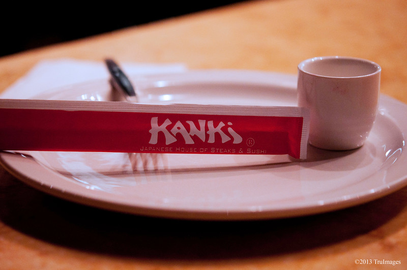 Feb 1<br /> Kanki<br /> <br /> Went out to dinner Wednesday to celebrate my birthday at my favorite restaurant! Great food! Unfortunately didn't get any good shots of the chef cooking and entertaining, needed a wide angle...But I knew there would be low light so I took my 60mm f/2.8 lens which performed very well!!<br /> <br /> Thanks for the comments and critiques of my photo yesterday!!