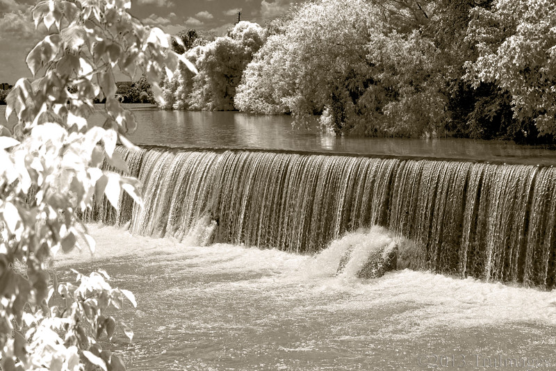 Jun 27<br /> Infrared falls<br /> <br /> A different take on one of my favorite little places to catch a photo, the Dan river in Danville Va.<br /> <br /> Thanks for all of the wonderful comments on the spider photo yesterday!