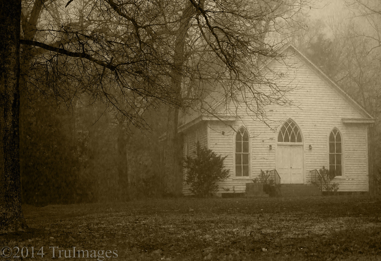 Jan 16<br /> Mysterious<br /> <br /> Could this be 2014 or 1814?? <br /> I loved the old world look of this quaint little church  partially cloaked by the fog.<br /> <br /> Thanks for visiting and commenting!!