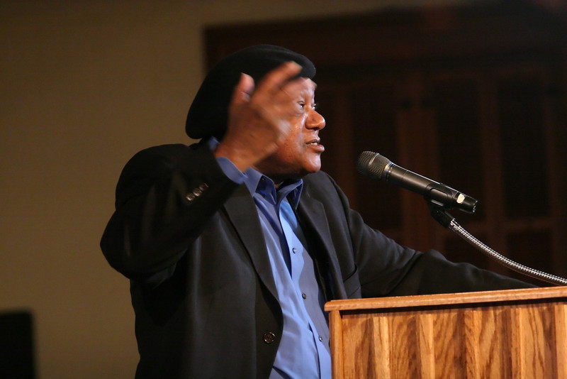 Bobby Seale, co-founder of the Black Panther Party, spoke Thursday to a packed Meharry Hall.  Seale spoke about his personal history and the myths and realities of the Black Panther's founding and history.  PHOTO BY ALEX TURCO