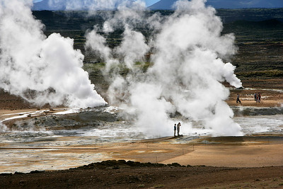 Visitors at Geothermal Basin, Kroflustod