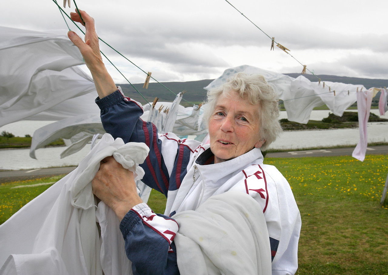 Woman Hanging Laundry, Egilsstadir