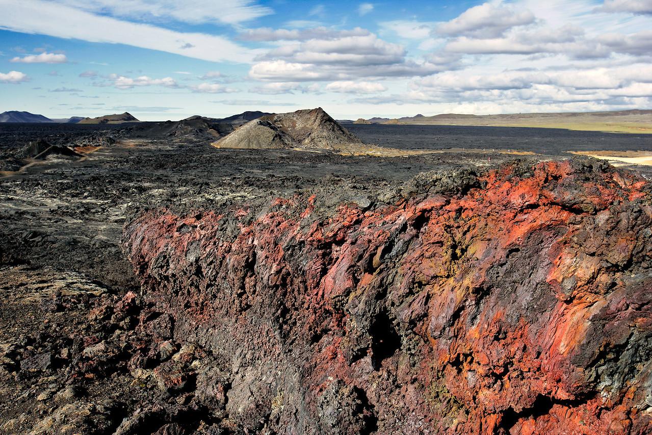 Lava Field w/Iron Oxide Rich Scoria & Cinder Cone, Leirhnjùkuri