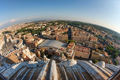Fisheye Rome from St Peter's Dome