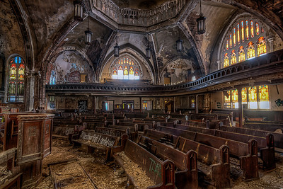 "The Woodward Avenue Presbyterian Church is a church located at 8501 Woodward Avenue in Detroit, Michigan. Built in 1911 in the Gothic revival style, the architect was Sidney Badgley. It was used for some time as the Abyssinia Church of God in Christ. The building was listed on the National Register of Historic Places in 1982.  By 1908, the Presbyterians in Detroit recognized the need for a church to serve congregants located in what was then the ""north"" Woodward area.[3] Meetings were held and the congregation was officially recognized by the Presbyterian Church on March 17, 1908. The church had 163 members.  Rev. Sherman L. Divine was installed as the congregation's first minister, and he embarked on an ambitious building project, envisioning a sanctuary that would cost about $100,000.[4] The church enlisted new members and new funding. Tracy and Katherine McGregor donated a lot along Woodward, and the cornerstone for the church was laid on January 1, 1910. Construction began, based on a design by Sidney Rose Badgley. The church was dedicated on June 23 of the next year.  The church congregation, reaching over 2200 members by 1921. However, by the 1950s, many members were leaving Detroit for the northern suburbs. Woodward Avenue Presbyterian Church began to struggle, with fewer than 1000 members in 1961 and only 404 in 1971. In 1981, Woodward Avenue Presbyterian merged with Covenant Church. The combined churches still had fewer than 500 members, and by 1991 there were only 210. In 1993, the congregation split from the Presbyterian church, eventually becoming the Abyssinia Interdenominational Church. The church closed on the death of the pastor in 2005.  Until the spring of 2010, Woodward Avenue Presbyterian was abandoned, and has fallen into disrepair. More recently the property has been purchased by a group looking to convert the building into a homeless shelter.  Equipment=Canon EOS 6D (Canon 6D) Lens Used=Tokina 17-35mm F/4 AT-X Pro FX Lens Exposures=7 Location=Detroit, Michigan  Workflow= PhotoMatix 5 Adobe PhotoShop Cs6(Lightning Adjustments=4.0) Adobe Light room 5  Software, Nik Color Efex=Tonal Contrast,Brilliance/Warmth=Cold and Dark Contrast  Topaz Adjust 5=Photo Pop  Topaz Detail 3"