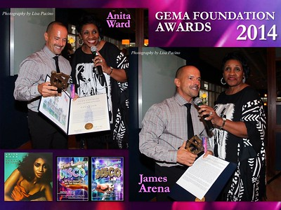"Please Support James Arena's Fabulous Book 'The First Ladies of Disco'. Photographs of James receiving his award from Legend Anita Ward by Celebrity Photojournalist Lisa Pacino of Under The Duvet Productions, NY ©. All Rights Reserved. GEMA WEBSITE: http://www.thegemafoundation.org/Photo-Gallery.html  The G.E.M.A. Foundation  DISCO Weekend, Wilmington, Delaware, October 10th & 11th, 2014. The weekend consisted of an Awards-Luncheon, Rehearsals, Show, and After Party. The event was hosted by Dee Wellmon and Maria Lozada of The G.E.M.A. Foundation. The Awards Luncheon Ceremony was held on October 10th at the Deep Blue Bar & Grill in Delaware where Councilman David Oh of Philadelphia presented the Honorees with a Citation from Philadelphia, PA. In addition, special awards were presented to each Honoree by their colleagues. The Rehearsals and Show Performances were held at The Grand Opera House in Wilmington, Delaware. The After Party was held at the Firestone Restaurant & Bar. Exclusive Event Photography by Celebrity Photojournalist Lisa Pacino of Under The Duvet Productions, NY ©. All Rights Reserved.  Disco Weekend with Awards and Performances included 'The Three Degrees': Valerie Holiday, Helen Scott, and Freddie Pool (with former member Cynthia Garrison also honored), Anita Ward, Evelyn Champagne King, Carol Williams, Linda Clifford, Carol Douglas, Denise Montana, The Ladies of SKYY, Alfa Anderson of 'Chic', Wardell Piper was honored for her Solo Career (she is also a member of 'First Choice'), and Cory Daye of 'Dr. Buzzard's Original Savannah Band'.  The Performers were honored with Awards and Citation for their achievements in the recording industry. In addition, Tom Moulton, Norman Connors, Bobby Eli, Dennis Taylor, Gene Leone, James Arena, James Rosin, Maria Torres, Mimi Brown (WDAS FM Radio), Larry Cotton, Tim Marshall, and Bruce Webb were honored for their recording, musical, dance and literary achievements in the recording and radio industry. Special guests in attendance/participating in the show and/or weekend included DeVerne D. Williams, Rahieam Howard, Annette Guest of 'First Choice', The Volcanos, Michael Harkins, John Giovanni LaHara, Vonnie Eli, Gigi Neglia, Gwen Kelly, Ashley Scott, James Sullivan, Sheila Denise, Tom (husband of Denise Montana), Freddie Fox, Austin Kwame Wilkinson, DJ Al Magliano, Philly Rap Promoter Rodney Horton ""Atlas"", and many more.  Photos include Arrivals, Luncheon Awards, Daytime Rehearsals, Pre-Show Backstage, Show Performances, Post-Show Backstage, and After Party."