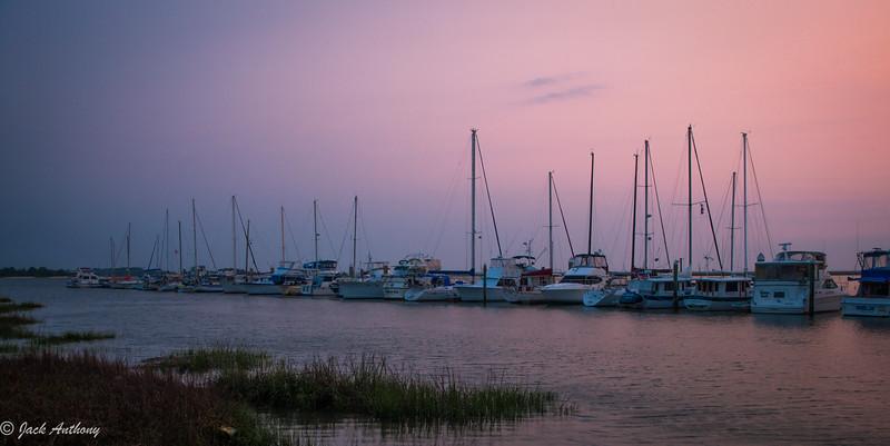 Jekyll Island Marina at sunset