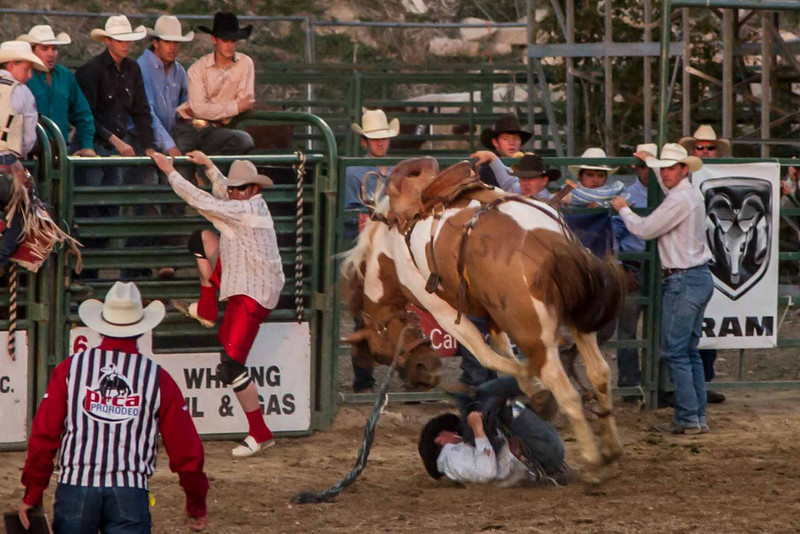 The rough and tumble world of bronc riding at the Pioneer Days Rodeo in Guymon, Oklahoma. Bad as it looks, the rider suffered nothing more than a bruised ego.<br /> Photo © Carl Clark