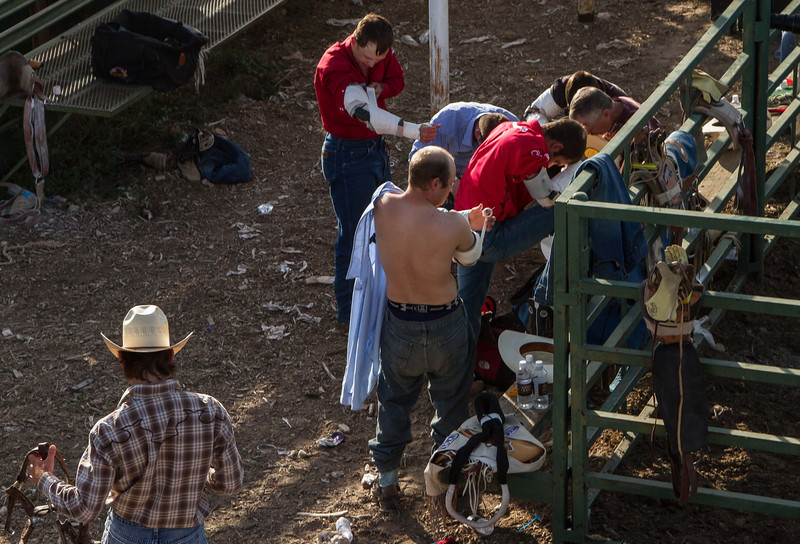 Behind the scenes at the 2012 Pioneer Days Rodeo in Guymon, Oklahoma.<br /> Photo © Cindy Clark