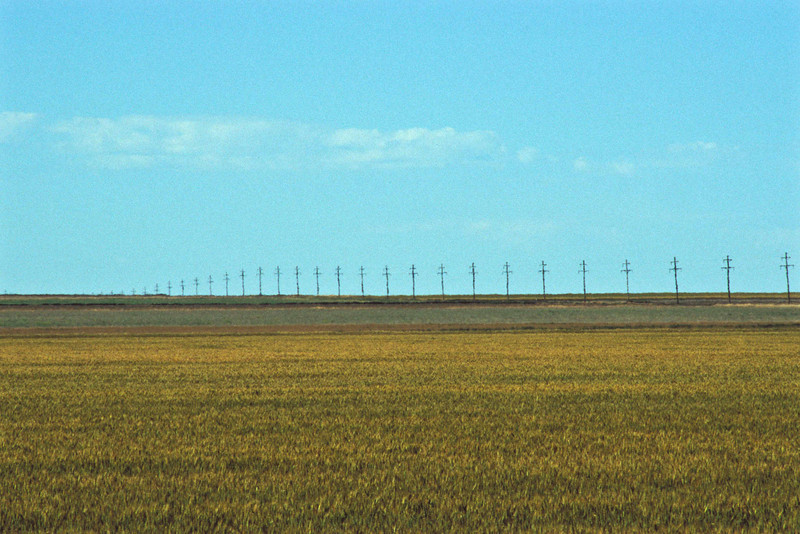 Line of poles in the Oklahoma Panhandle.<br /> Photo © Carl Clark