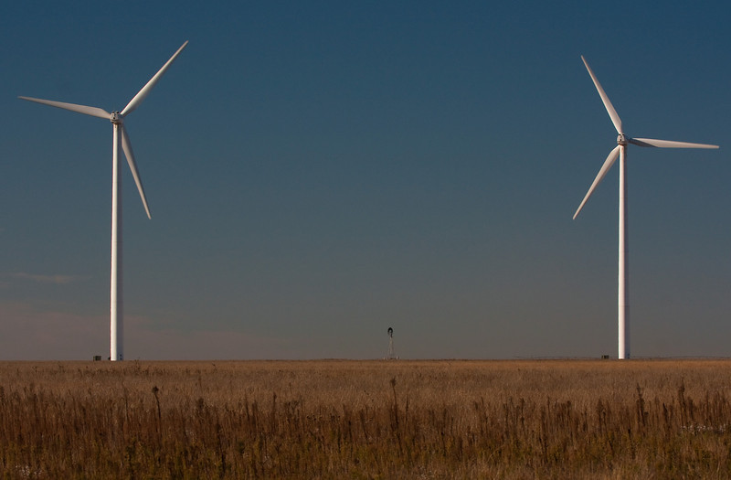 A poignant juxtaposition of old and new technology in the Oklahoma panhandle.<br /> Photo © Cindy Clark