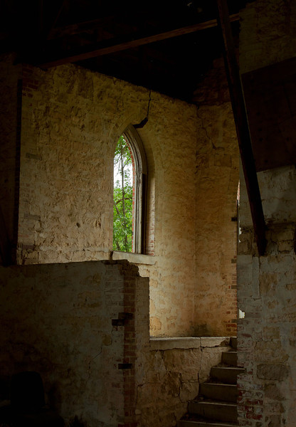Interior of an old church in rural Cowely County, Kansas.<br /> Photo © Cindy Clark