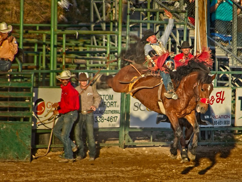 The horse's name is Dirty Jacket. Pioneer Days rodeo in Guymon, Oklahoma.<br /> Photo © Cindy Clark