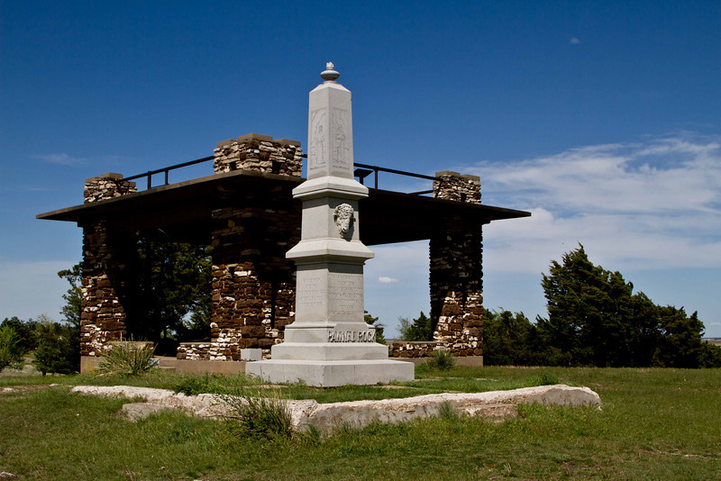 The monument at Pawnee Rock in central Kansas, a prominent high point for ancient Native Americans and later along the Santa Fe Trail.<br /> Photo © Carl Clark