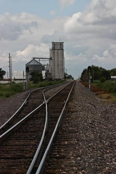 Tracks to the grain elevator in Goodwell, Oklahoma.<br /> Photo © Carl Clark