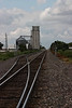 Tracks to the grain elevator in Goodwell, Oklahoma.<br /> Photo © Carl Clark