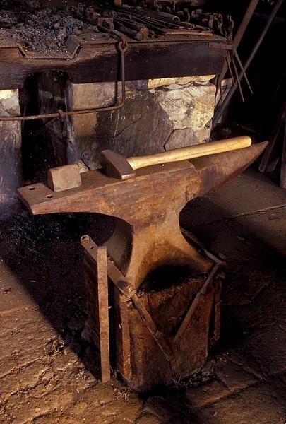 Scene from a working blacksmith's shop in Stuttgart, Kansas.<br /> Photo © Cindy Clark