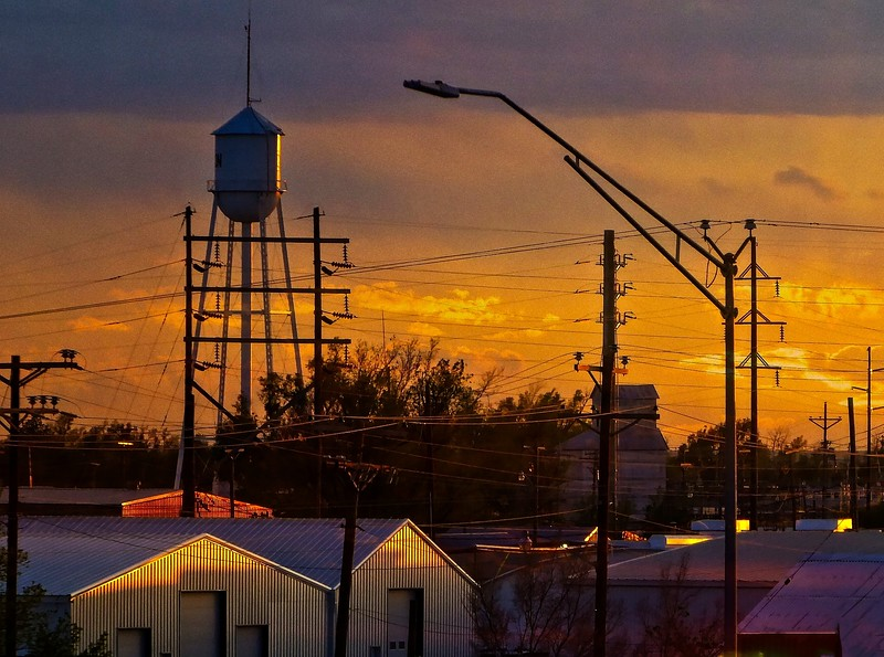 Sunset in  my home town, Guymon.<br /> Photo © Cindy Clark