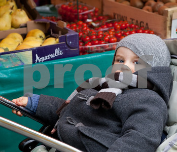French child at Farmer's Market Vernon, France