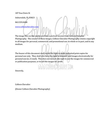 Microsoft Word - Colleen Chevalier PRINT RELEASE.docx