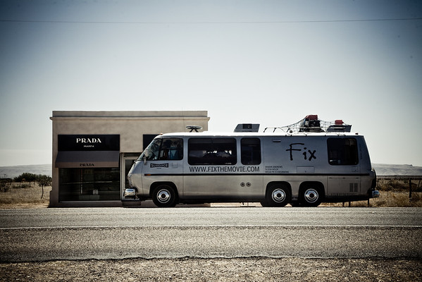 The Laughing Mongoose RV at the Prada Marfa, promoting FIX at the Marfa film festival