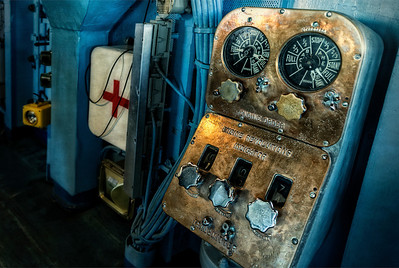 On the bridge of the Midway, what seems like archaic engine monitoring equipment.