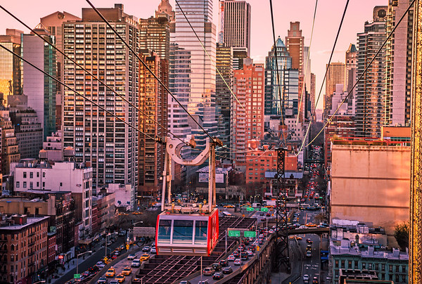 New York City Skyscrapers and the Roosevelt Island Tram at Dusk