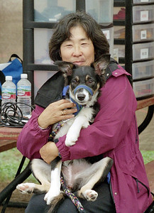 2004 - Gwen and puppy Savanna at agility competition (where?)