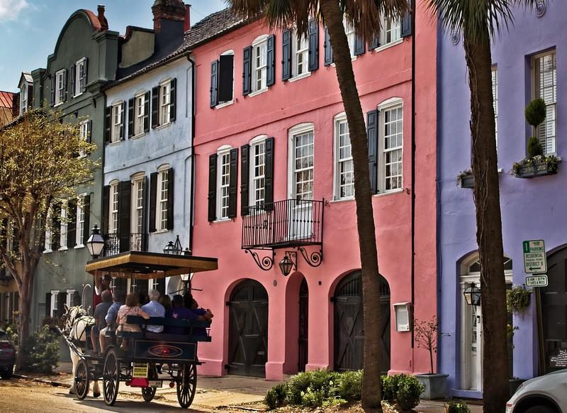 Rainbow Row houses in Charleston.<br /> Photo © Cindy Clark