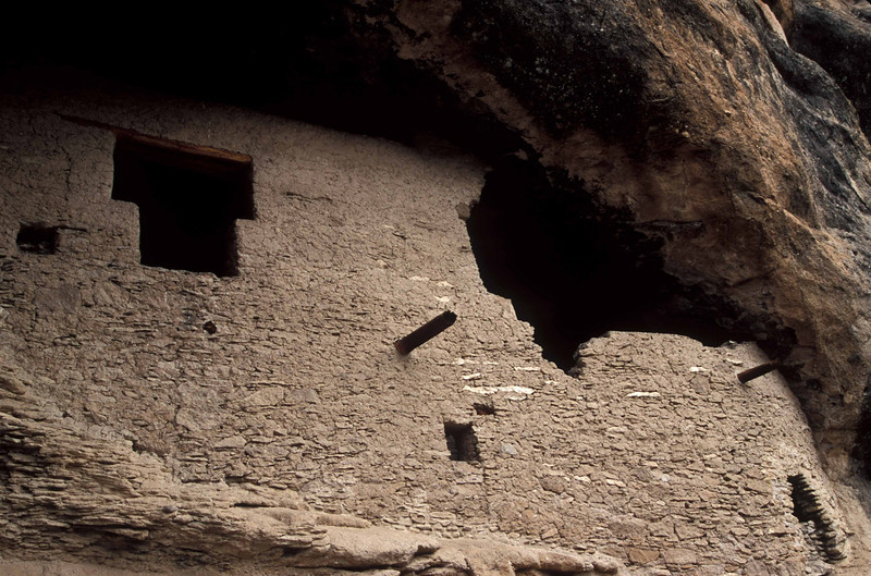 Ancient construction at Gila Cliff Dwellings.<br /> Photo © Carl Clark