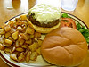 The ulitmate green chile cheeseburger!  Bobcat Bite serves the best!<br /> Photo © Cindy Clark