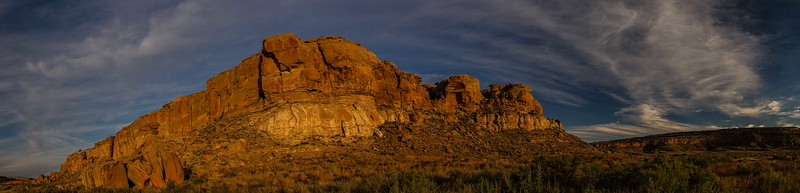 Shining cliffs in late afternoon in Chaco Canyon, New Mexico.<br /> Photo © Carl Clark