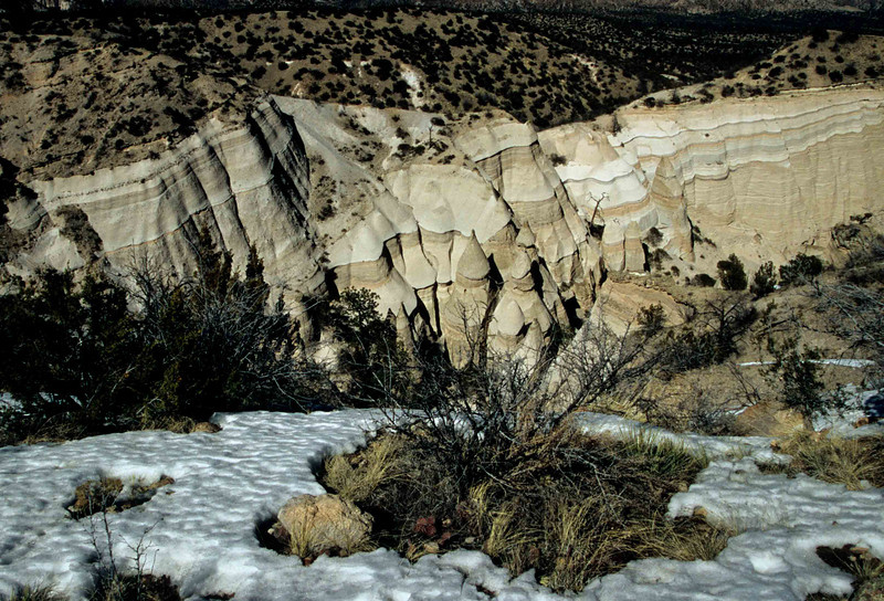 Springtime view of the volcanic layers at Tent Rocks.<br /> Photo © Carl Clark