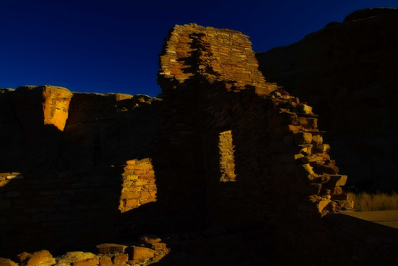 Morning in the ruins at Pueblo Bonito in Chaco Canyon, New Mexico.<br /> Photo © Carl Clark