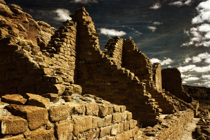 This sky just adds to the drama of Chaco Canyon ruins at Pueblo Bonito.<br /> Photo © Cindy Clark
